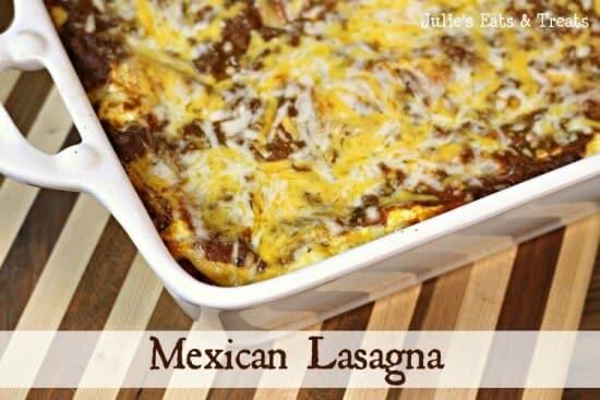 Mexican Lasagna ~ Lasagna with a little spice in it! www.julieseatsandtreats.com #recipe