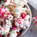 Valentine's Day Snack Mix ~ Popcorn, Peanuts and M&M's coated in White Almond Bark! An Easy Sweet Snack for Your Sweetie!