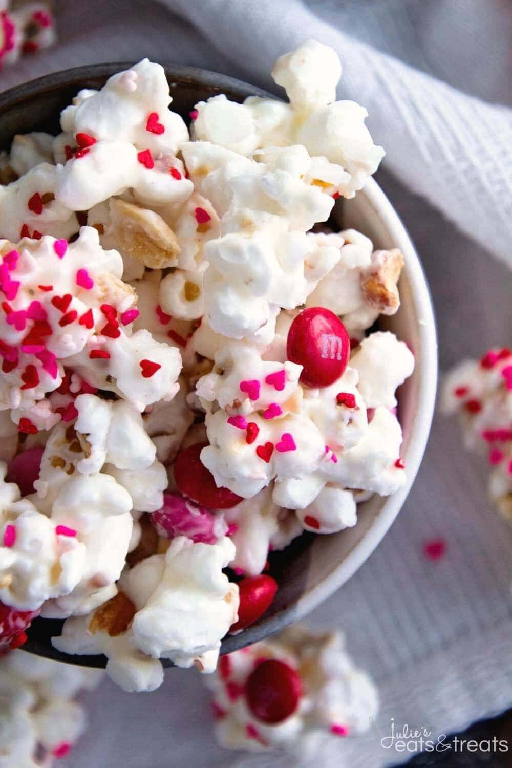Valentine Snack Mix ~ Popcorn, Peanuts and M&M's coated in White Almond Bark! An Easy Sweet Snack for Your Sweetie!