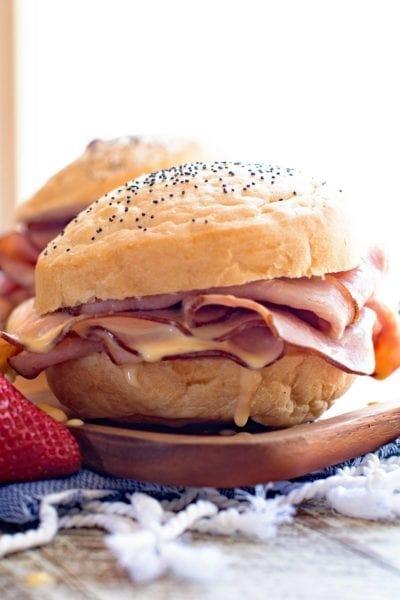 Hot Ham & Cheese Sandwich on Plate