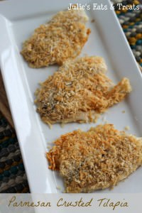 Parmesan Tilapia ~ Quick, Easy and Healthy, Perfect Weeknight Meal! via www.julieseatsandtreats.com #recipe