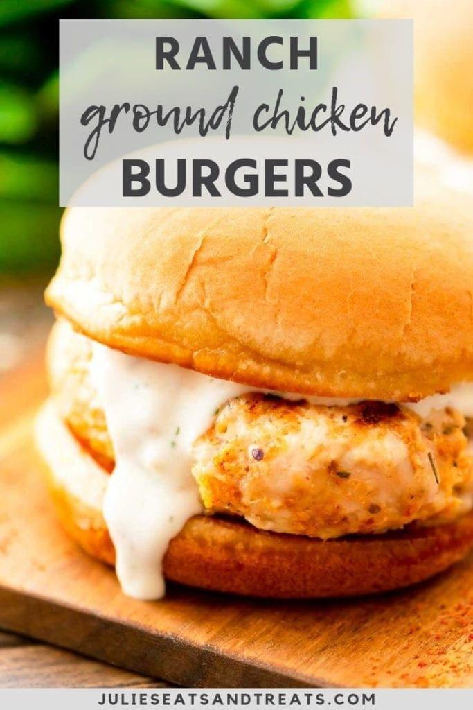 ranch ground chicken burger on a bun