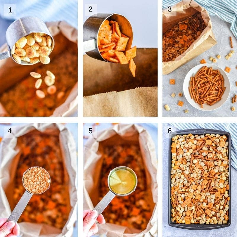 Collage of six images showing how to make recipe