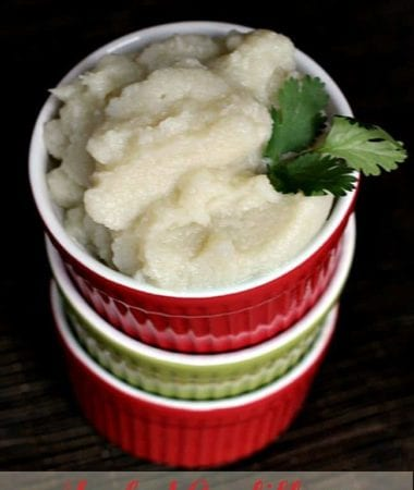 Mashed Cauliflower ~ Easy & Healthy side dish via www.julieseatsandtreats.com