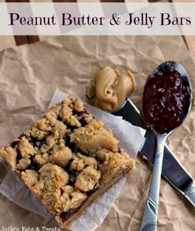 Peanut Butter & Jelly Bars ~ An American Classic ~ How can you not love them? via www.julieseatsandtreats.com #recipe