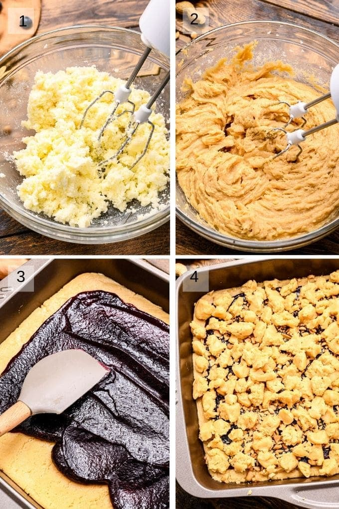 Collage of four images showing steps to prepare bars mixing ingredients and putting in the pan