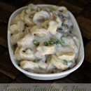 Tortellini, Ham & Peas smoothered in a creamy white sauce