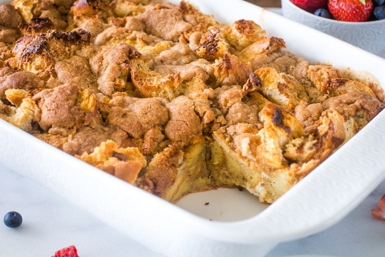 French Toast Casserole in white dish