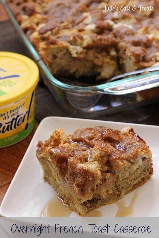 Overnight French Toast Casserole ~ Make it the night ahead and just pop it in the oven and have a wonderful breakfast! via www.julieseatsandtreats.com