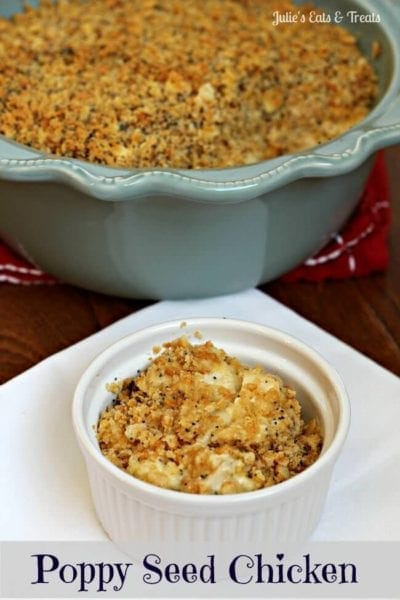 Poppy Seed Chicken ~ Creamy chicken topped with a buttery Ritz & Poppy Seed topping via www.julieseatsandtreats.com