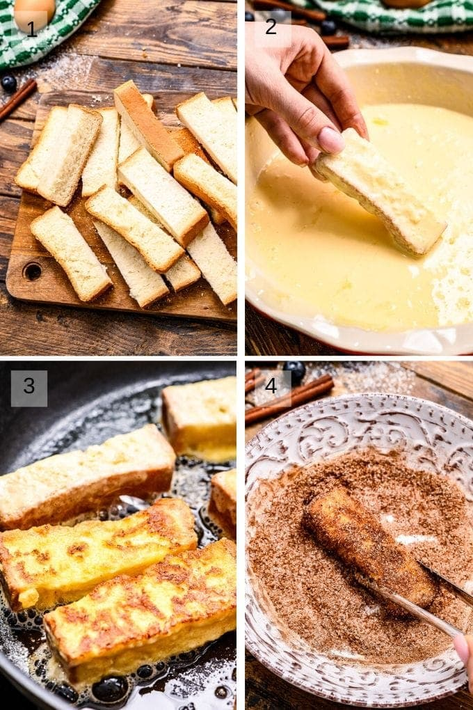 Four image collage of cut bread dipping it in egg mixture frying and rolling in cinnamon sugar