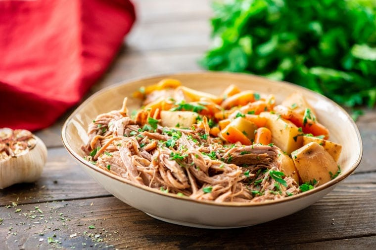 Bowl of Slow Cooker Beef Roast and Vegetables