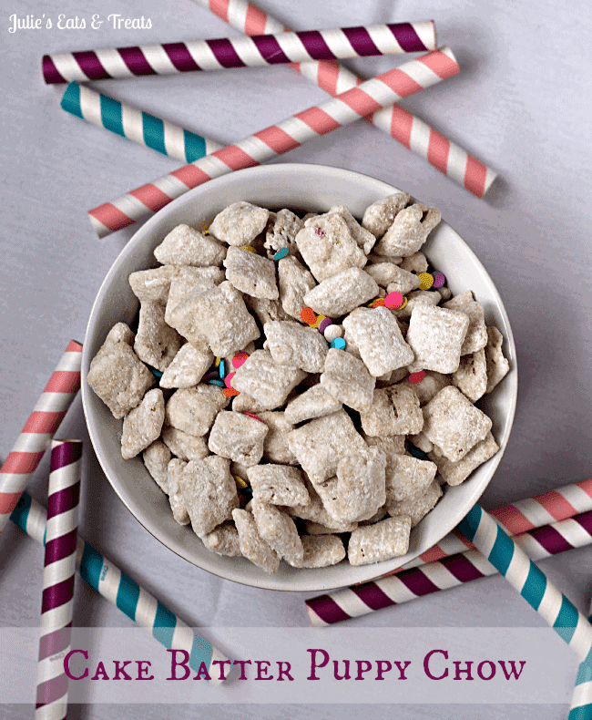 Cake Batter Puppy Chow ~ Highly addictive puppy chow for more than just birthdays! via www.julieseatsandtreats.com