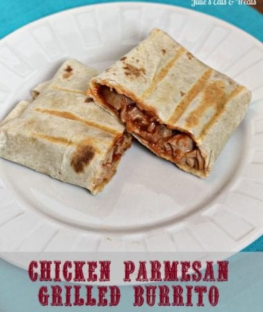 Chicken Parmesan Grilled Burrito ~ Fun twist on burrito and an easy lunch idea! via www.julieseatsandtreats.com