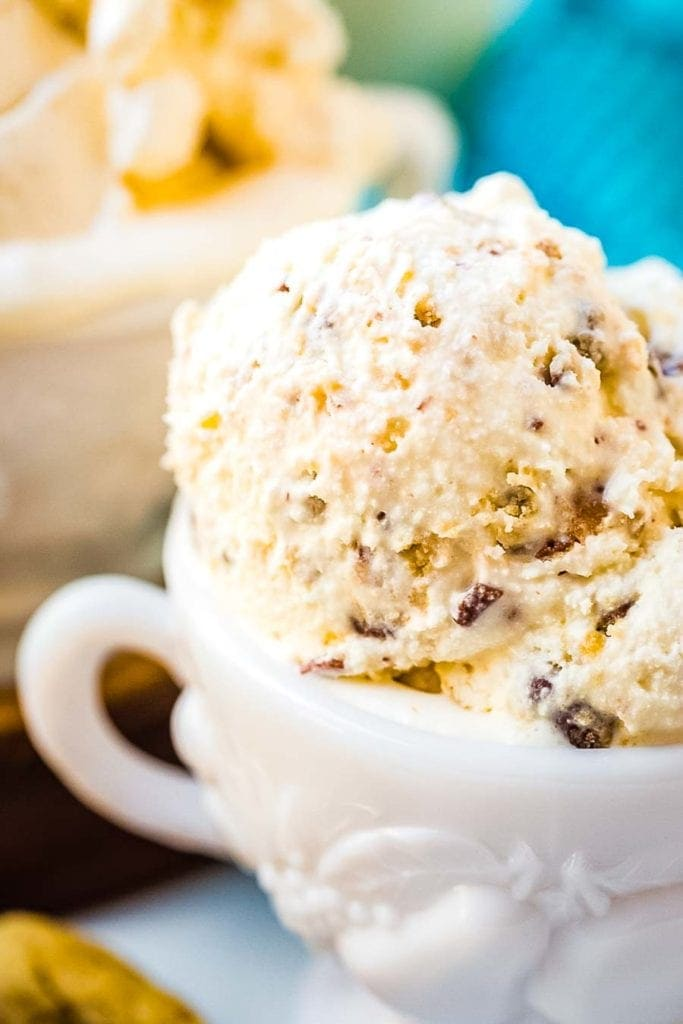 Homemade ice cream in white bowl