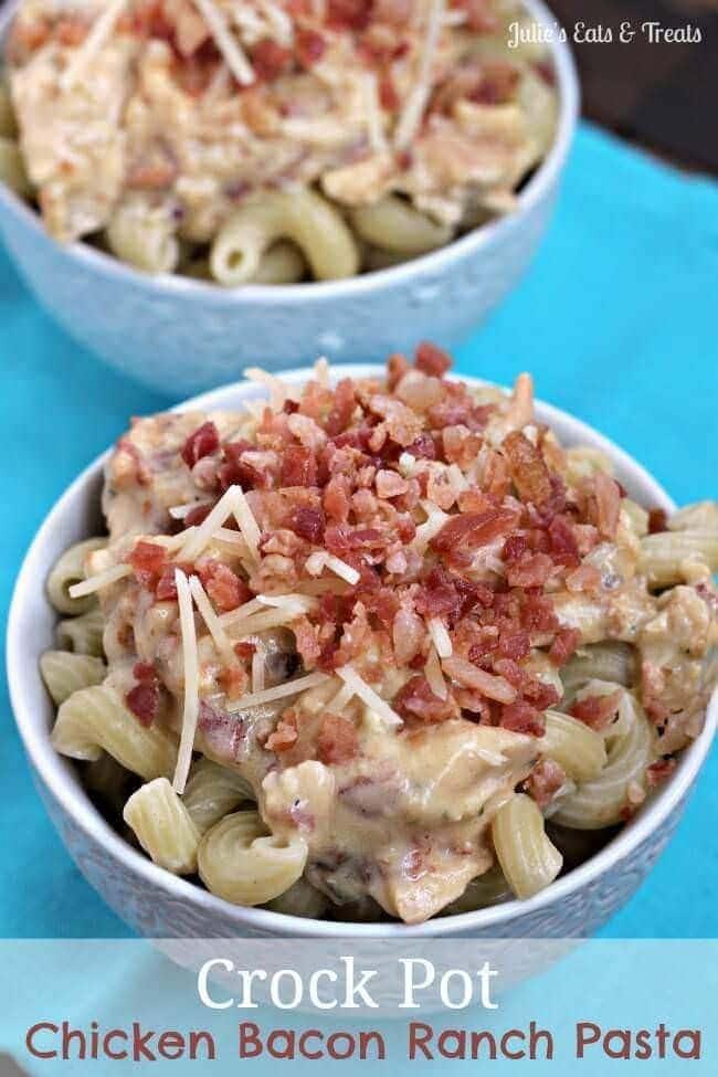 Crock Pot Chicken Bacon Ranch Pasta ~ Creamy pasta stuffed with Chicken, Bacon & Ranch ready when you get home! via www.julieseatsandtreats.com