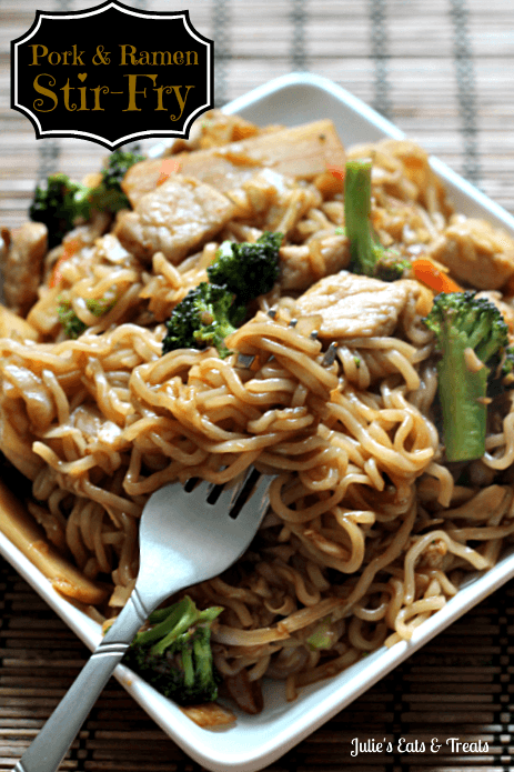 Pork & Ramen Stir-Fry ~ Ramen Noodles add a fun twist on normal Stir-Fry! via www.julieseatsandtreats.com