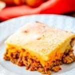 Sloppy Joe Casserole on a white plate