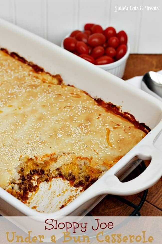 "Sloppy Joe Under a Bun Casserole ~ Sloppy Joe Meat hidden under a layer of cheese and topped with a ""bun""! via www.julieseatsandtreats.com"