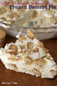 White Chocolate Golden Oreo Frozen Dessert Pie ~ Easy, Frozen Dessert that doesn't melt! via www.julieseatsandtreats.com