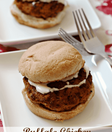 Buffalo Chicken Ranch Burger ~ Healthy baked chicken burgers with a bite! via www.julieseatsandtreats.com