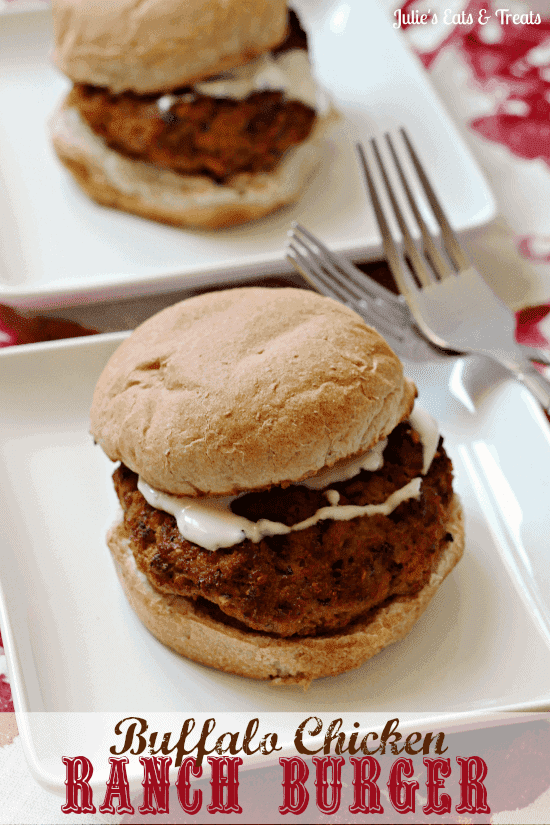 Buffalo Chicken Ranch Burger Healthy baked chicken burgers with a bite ...