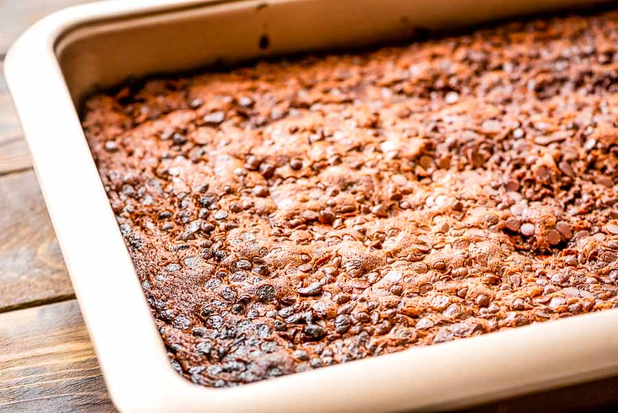 Pan of Chocolate Chip Zucchini Cake with Chocolate Chips