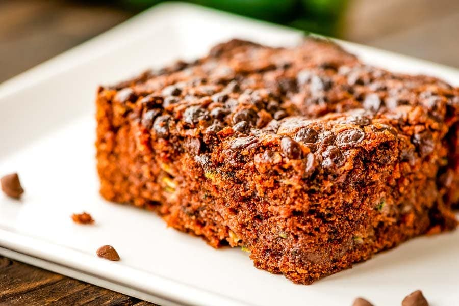Zucchini Cake with chocolate chips on white plate