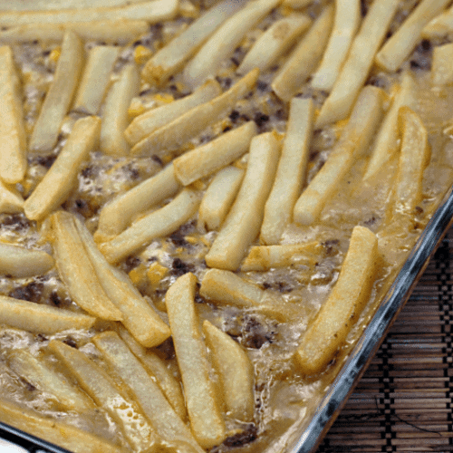French fry hot dish in a shallow baking dish