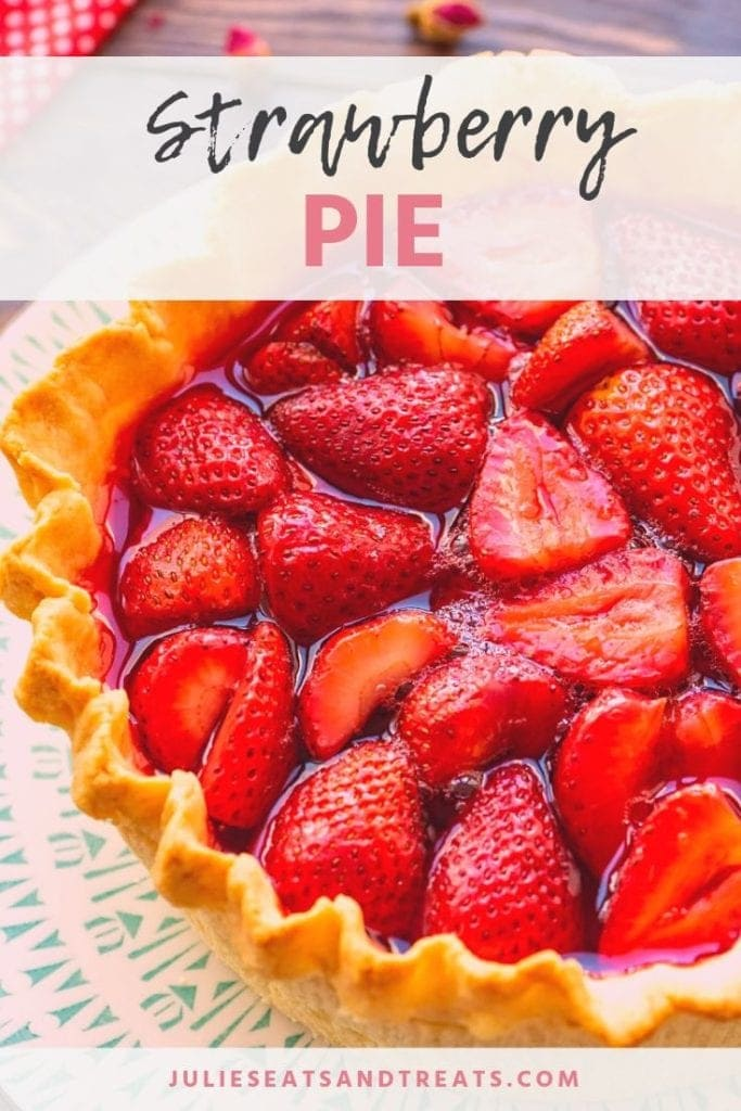 Strawberry pie on a blue and white plate