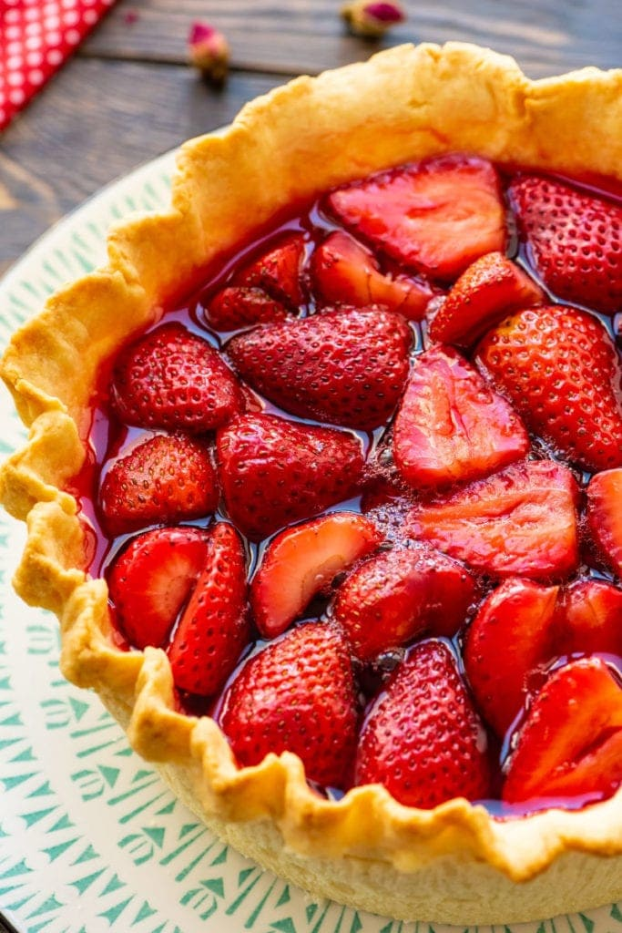 Strawberry-Pie-Recipe on white plate