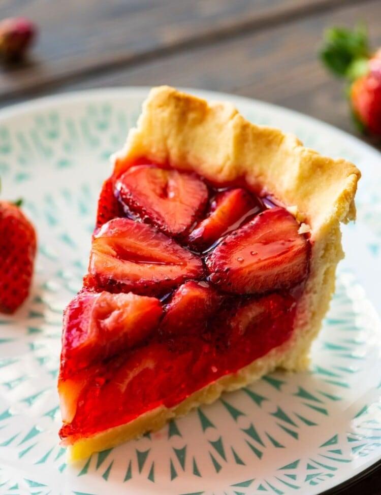 Piece of Strawberry Pie on plate