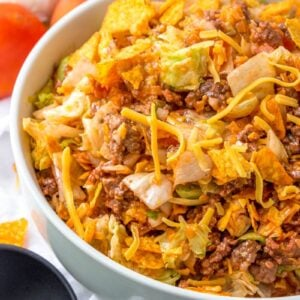 Dorito Taco Salad in White Bowl
