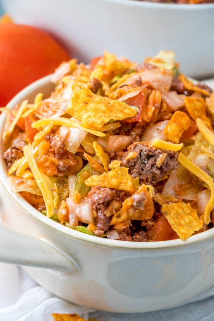Taco Salad in white bowl