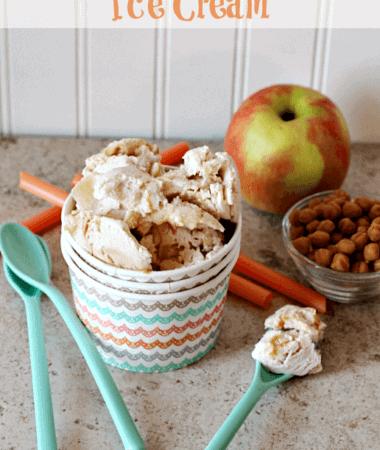 Apple Cinnamon Ice Cream ~ Cinnamon Ice Cream stuffed full of apple pie filling! via www.julieseatsandtreats.com