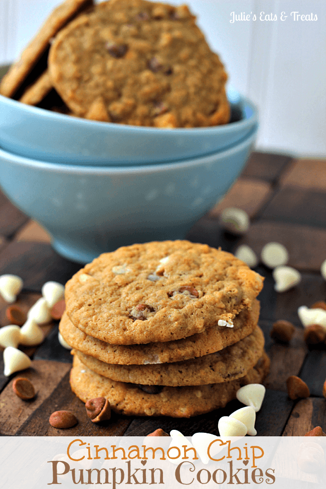 Cinnamon Chip Pumpkin Cookies ~ Soft, Chewy Pumpkin Cookies Stuffed Full of Cinnamon and White Chocolate Chips! #OXOGoodCookie via www.julieseatsandtreats.com