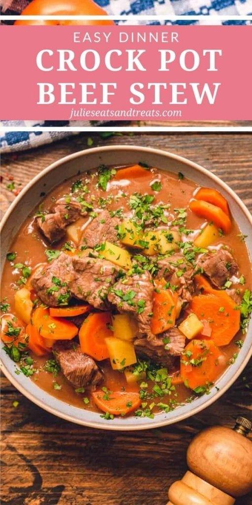Crock Pot Beef Stew in a gray bowl