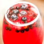 Glass of blueberry sangria