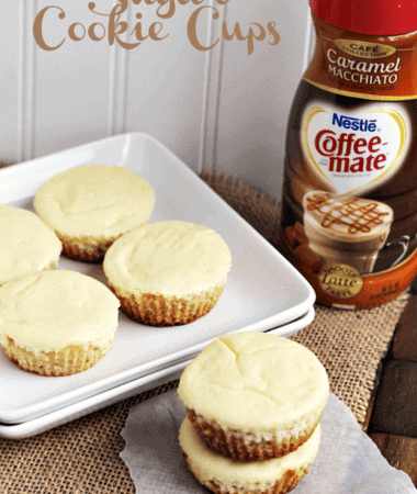 Caramel Macchiato Cheesecake Sugar Cookie Cups ~ Soft Sugar Cookie topped with Carmel Macchiato Cheesecake! #CMcantwaitCGC
