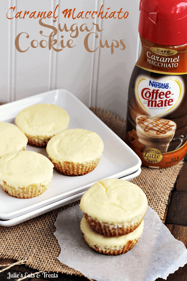Caramel Macchiato Cheesecake Sugar Cookie Cups ~ Soft Sugar Cookie topped with Carmel Macchiato Cheesecake! #CMcantwaitCGC