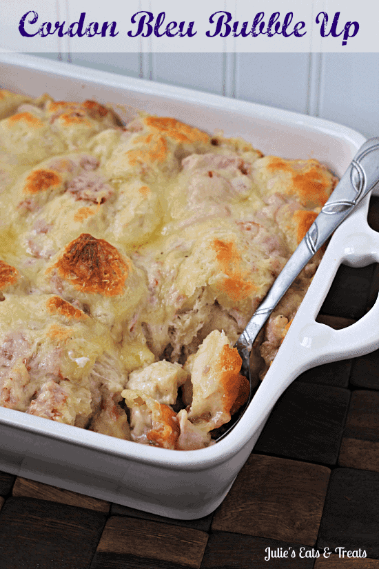 Cordon Bleu Bubble Up ~ Comforting casserole full of biscuits, Alfredo sauce, chicken, ham and swiss cheese!