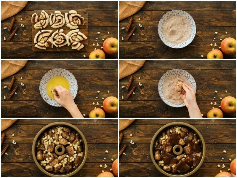 Collage of six images showing how to make the caramel apple monkey bread.