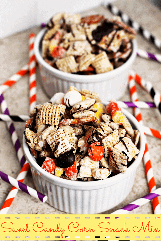 Sweet Candy Corn Snack Mix ~ Chex, Candy Corn M&M's, Pretzels, Peanuts, Candy Corn and Pretzels dressed in Vanilla CANDIQUIK® and drizzled with Chocolate!