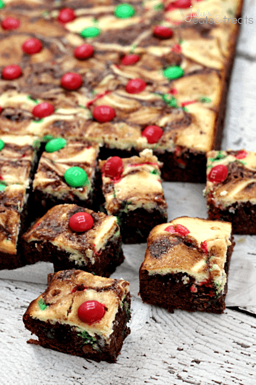 Marbled M&M Brownies ~ Chewy brownies layered with cream cheese and topped with M&Ms! #betterwithmms