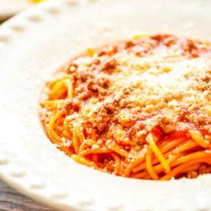 Bowl of One Pot Spaghetti