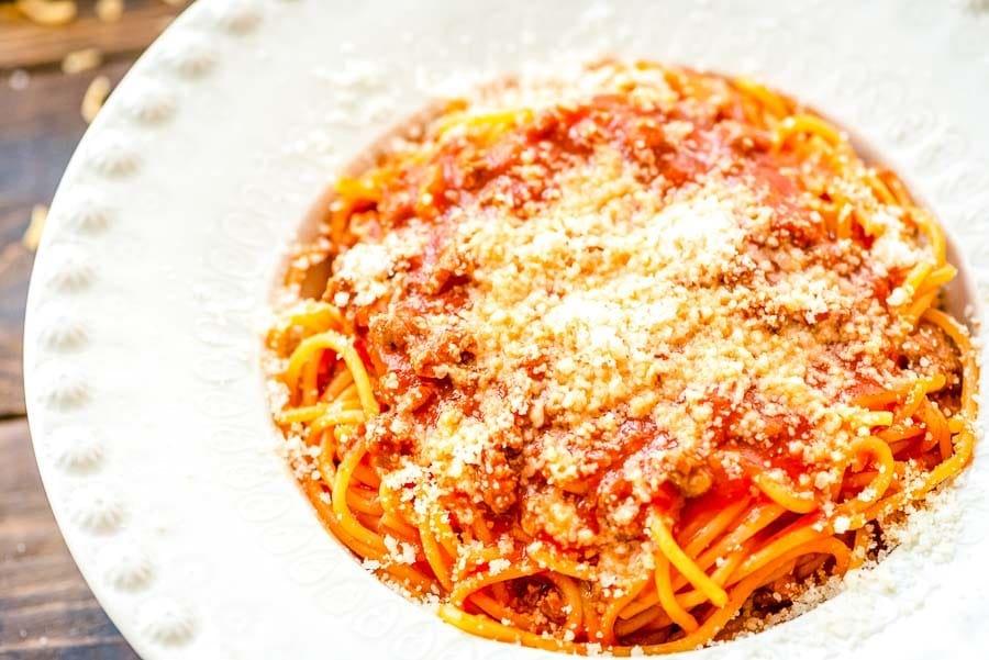One Pot Spaghetti recipe in white bowl