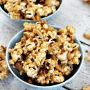 Peanut Butter Cashew Popcorn ~ Ooey, Gooey Peanut Butter Sauce smothering popcorn and cashews!