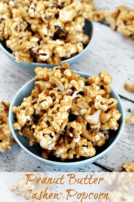 Peanut Butter Cashew Popcorn ~ Ooey, Gooey Peanut Butter Sauce smoothering popcorn and cashews!