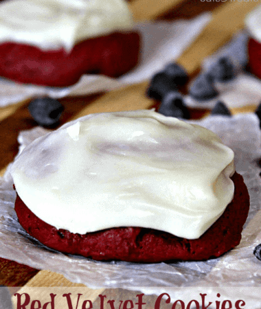 Red Velvet Cookies ~ Soft red velvet cookies stuffed with chocolate chips and topped with cream cheese frosting!