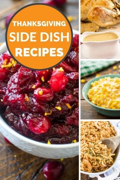Collage of thanksgiving side dish recipes
